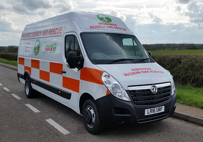 Photo of the operations van belonging to Midshires Search and Rescue organisation, used in search and rescue operations. It is painted 
